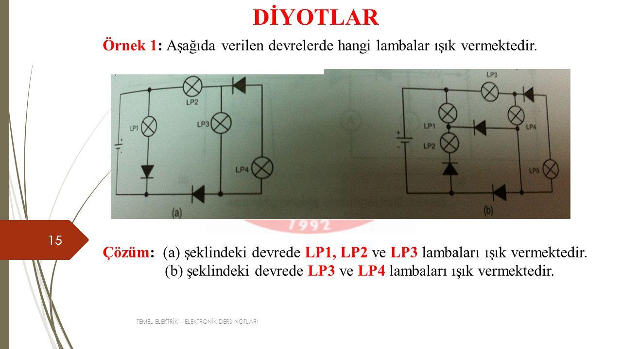 DİYOTLAR Örnek 1: Aşağıda verilen devrelerde hangi lambalar ışık vermektedir.