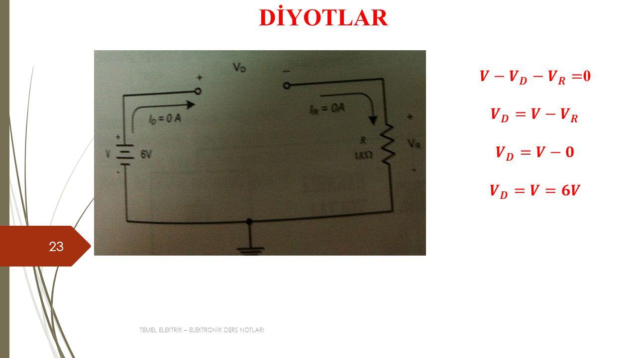 DİYOTLAR 𝑽− 𝑽 𝑫 − 𝑽 𝑹 =0 𝑽 𝑫 =𝑽− 𝑽 𝑹 𝑽 𝑫 =𝑽−𝟎 𝑽 𝑫 =𝑽=𝟔𝑽