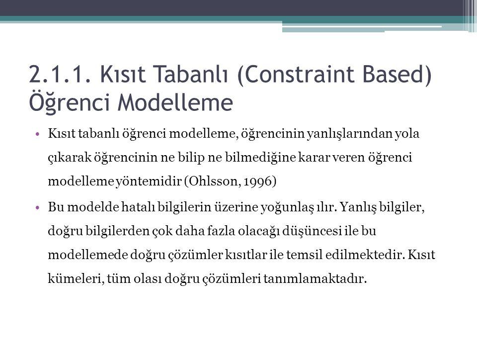 2.1.1. Kısıt Tabanlı (Constraint Based) Öğrenci Modelleme