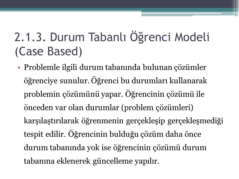 2.1.3. Durum Tabanlı Öğrenci Modeli (Case Based)
