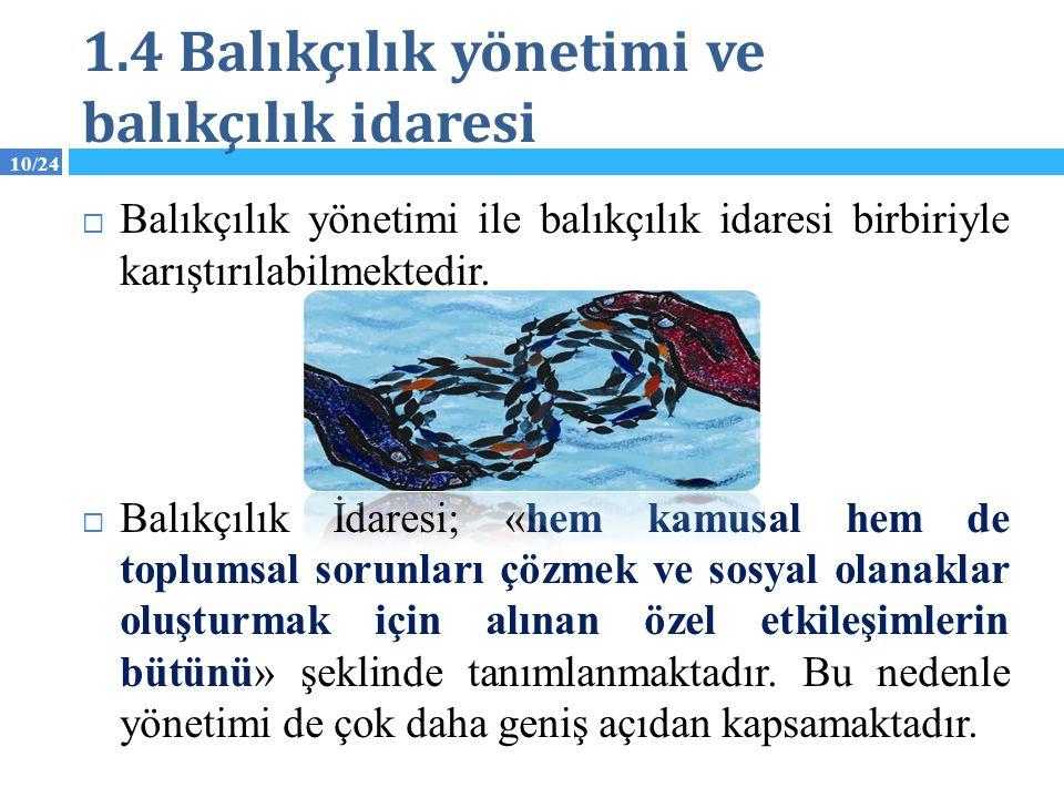 1.4 Balıkçılık yönetimi ve balıkçılık idaresi