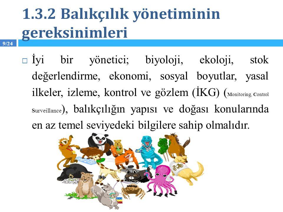 1.3.2 Balıkçılık yönetiminin gereksinimleri