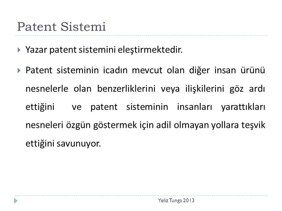 Patent Sistemi Yazar patent sistemini eleştirmektedir.
