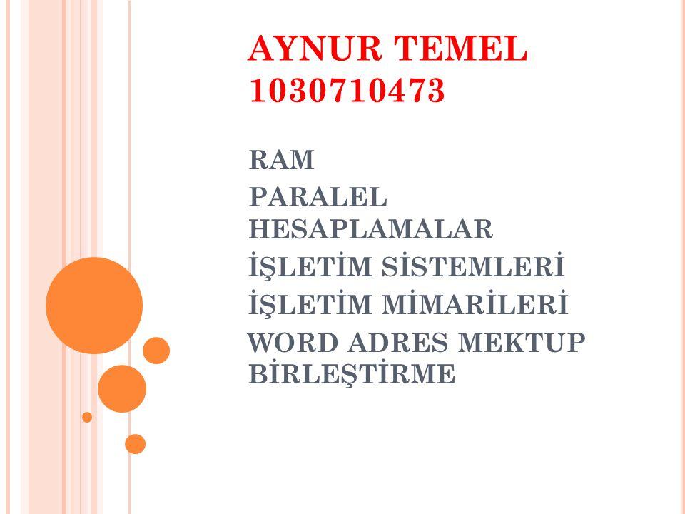 AYNUR TEMEL 1030710473 RAM PARALEL HESAPLAMALAR İŞLETİM SİSTEMLERİ