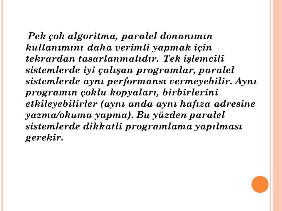 Pek çok algoritma, paralel donanımın kullanımını daha verimli yapmak için tekrardan tasarlanmalıdır.
