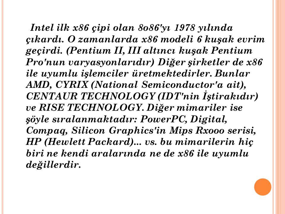 Intel ilk x86 çipi olan 8o86 yı 1978 yılında çıkardı