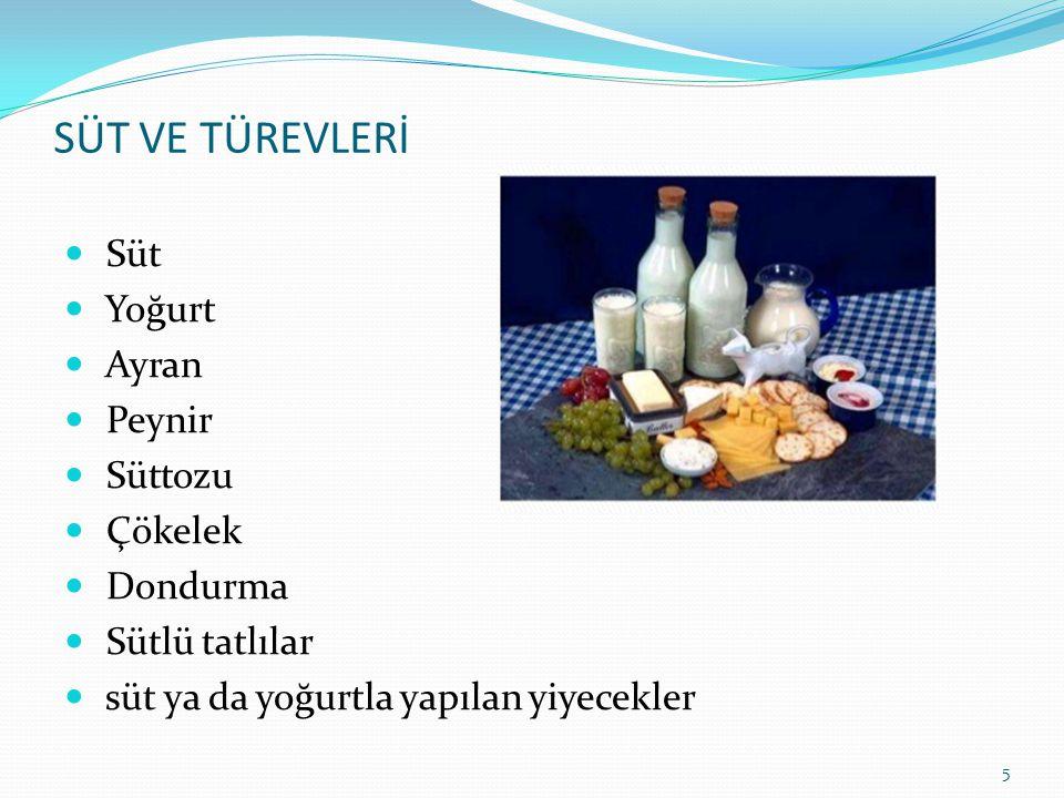 SÜT VE TÜREVLERİ Süt Yoğurt Ayran Peynir Süttozu Çökelek Dondurma