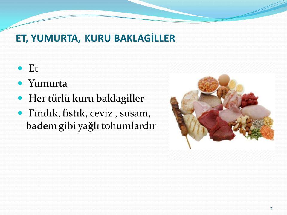 ET, YUMURTA, KURU BAKLAGİLLER