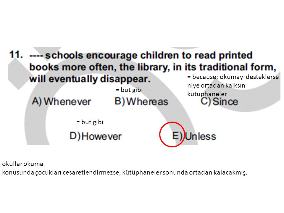 = because; okumayı desteklerse niye ortadan kalksın kütüphaneler