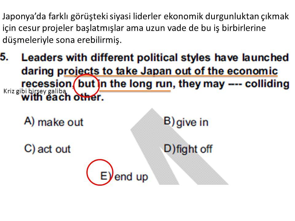 Japonya'da farklı görüşteki siyasi liderler ekonomik durgunluktan çıkmak için cesur projeler başlatmışlar ama uzun vade de bu iş birbirlerine düşmeleriyle sona erebilirmiş.