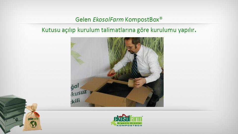 Gelen EkosolFarm KompostBox® Kutusu açılıp kurulum talimatlarına göre kurulumu yapılır.