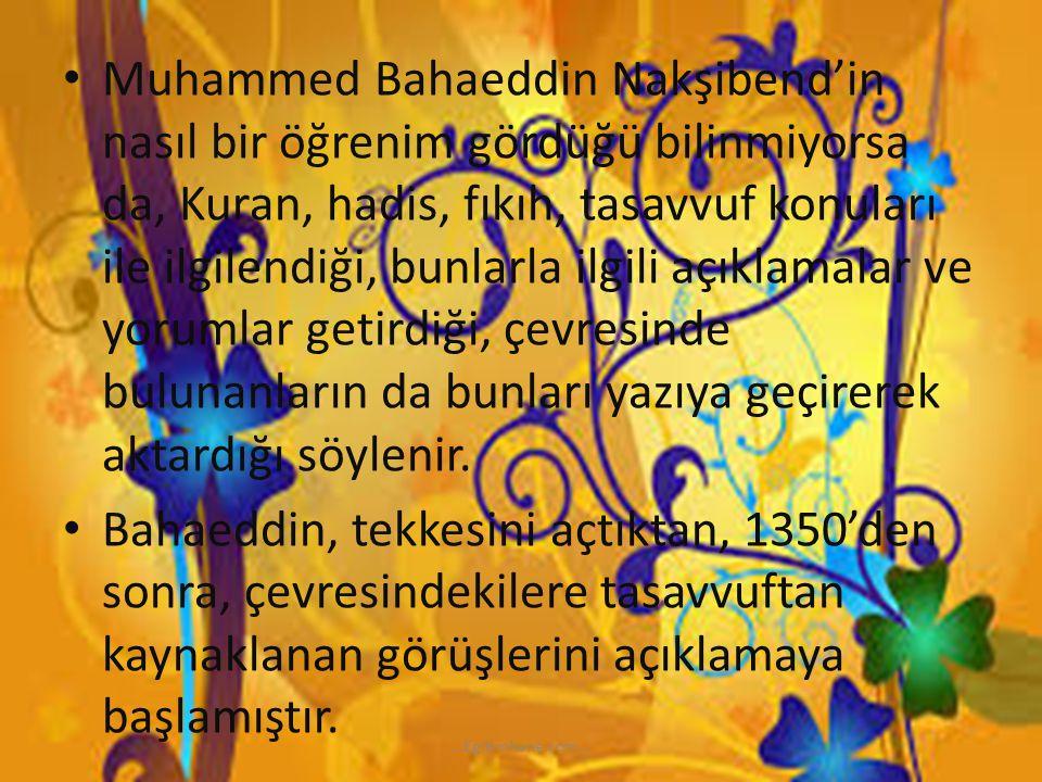 Muhammed Bahaeddin Nakşibend'in nasıl bir öğrenim gördüğü bilinmiyorsa da, Kuran, hadis, fıkıh, tasavvuf konuları ile ilgilendiği, bunlarla ilgili açıklamalar ve yorumlar getirdiği, çevresinde bulunanların da bunları yazıya geçirerek aktardığı söylenir.