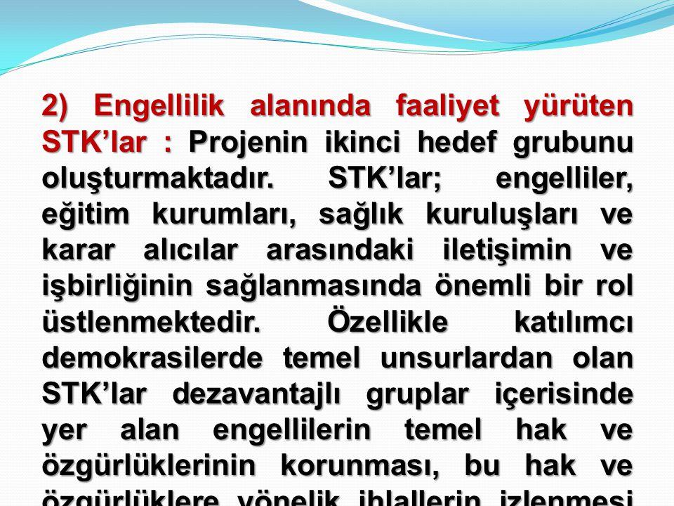 2) Engellilik alanında faaliyet yürüten STK'lar : Projenin ikinci hedef grubunu oluşturmaktadır.