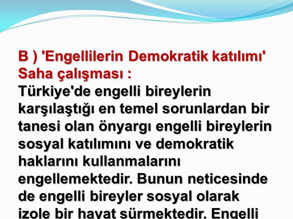 B ) Engellilerin Demokratik katılımı Saha çalışması :