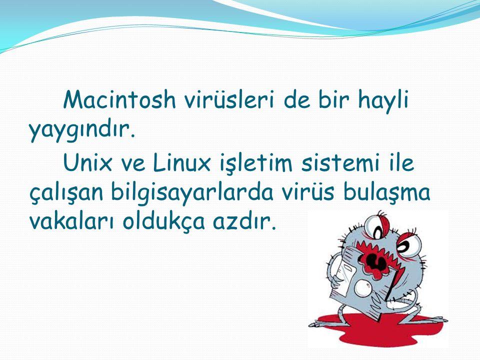 Macintosh virüsleri de bir hayli yaygındır