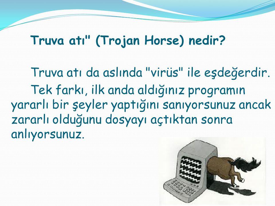 Truva atı da aslında virüs ile eşdeğerdir.