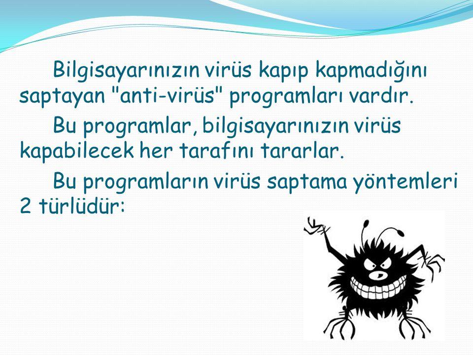 Bu programların virüs saptama yöntemleri 2 türlüdür: