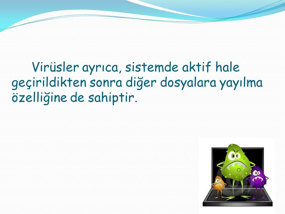 Virüsler ayrıca, sistemde aktif hale geçirildikten sonra diğer dosyalara yayılma özelliğine de sahiptir.