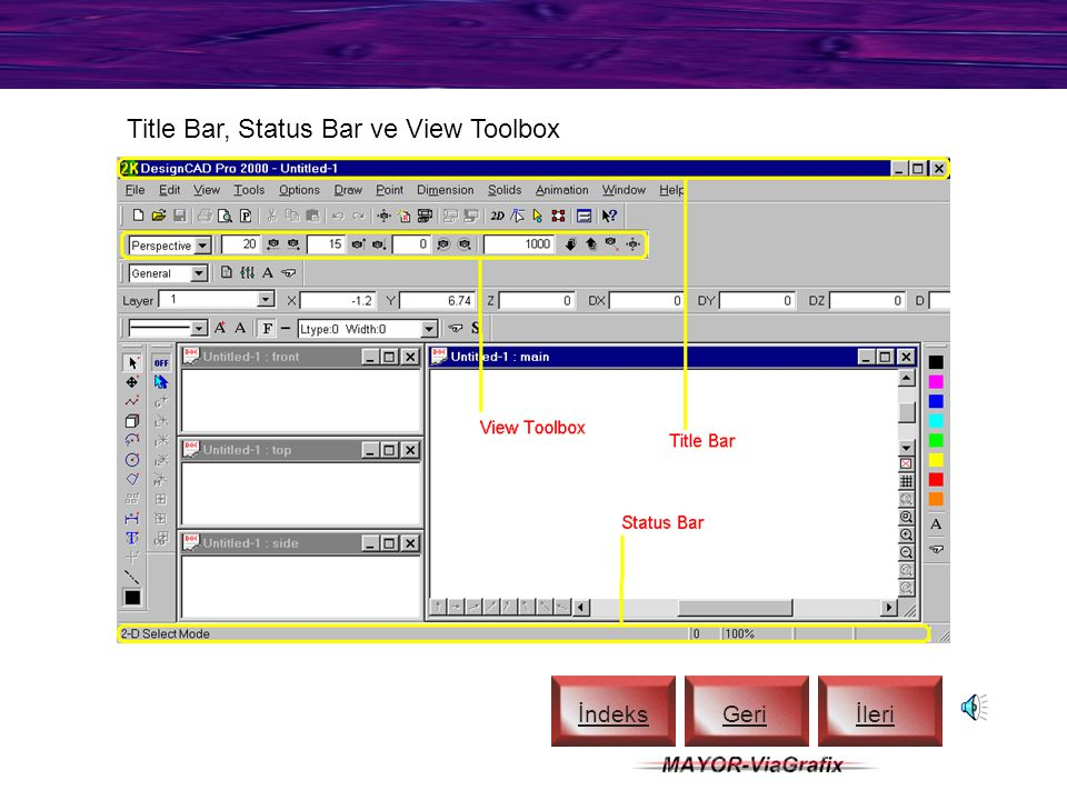 Title Bar, Status Bar ve View Toolbox