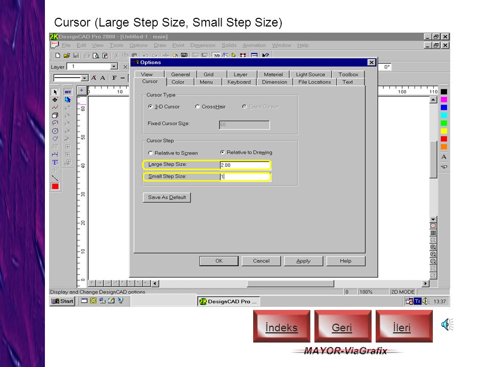 Cursor (Large Step Size, Small Step Size)