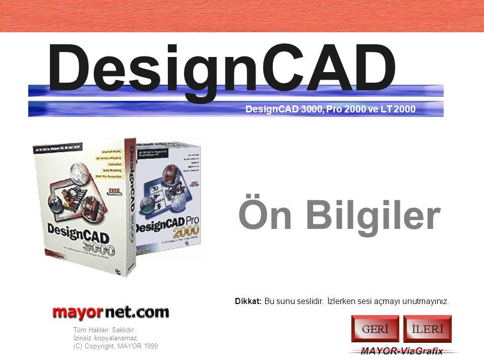 DesignCAD Ön Bilgiler DesignCAD 3000, Pro 2000 ve LT 2000