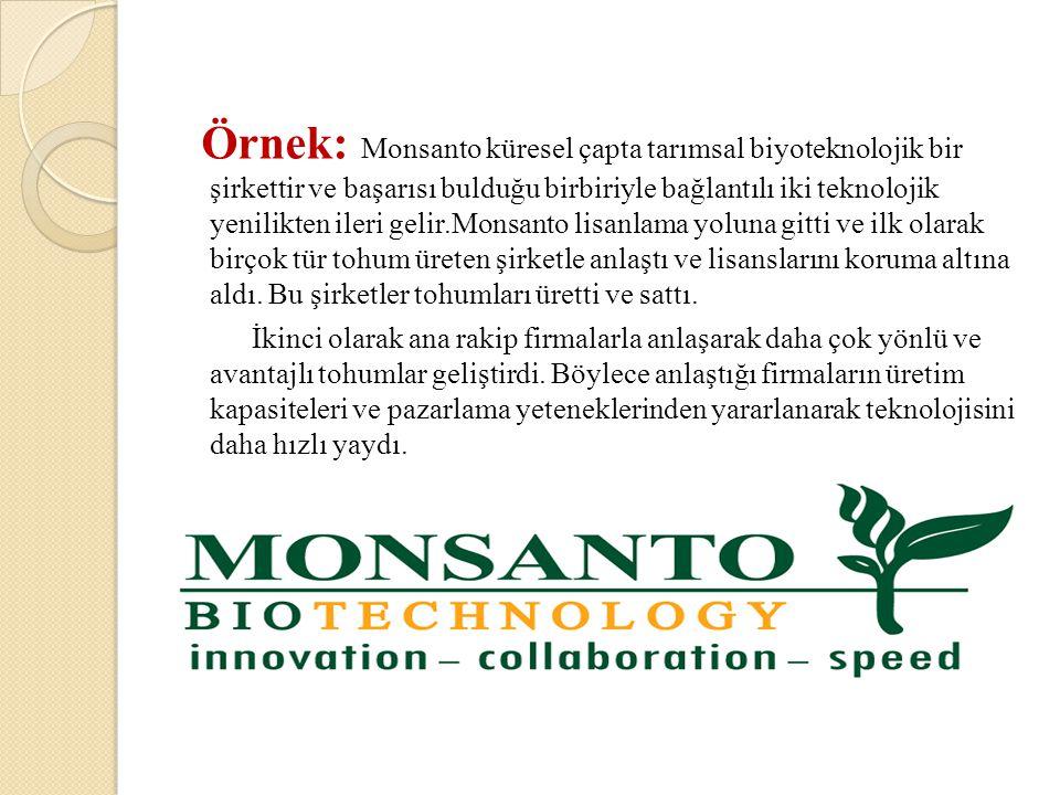 Örnek: Monsanto küresel çapta tarımsal biyoteknolojik bir şirkettir ve başarısı bulduğu birbiriyle bağlantılı iki teknolojik yenilikten ileri gelir.Monsanto lisanlama yoluna gitti ve ilk olarak birçok tür tohum üreten şirketle anlaştı ve lisanslarını koruma altına aldı. Bu şirketler tohumları üretti ve sattı.
