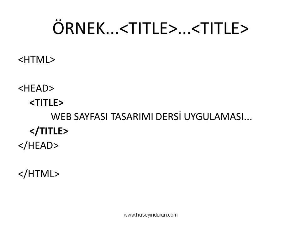 ÖRNEK...<TITLE>...<TITLE>