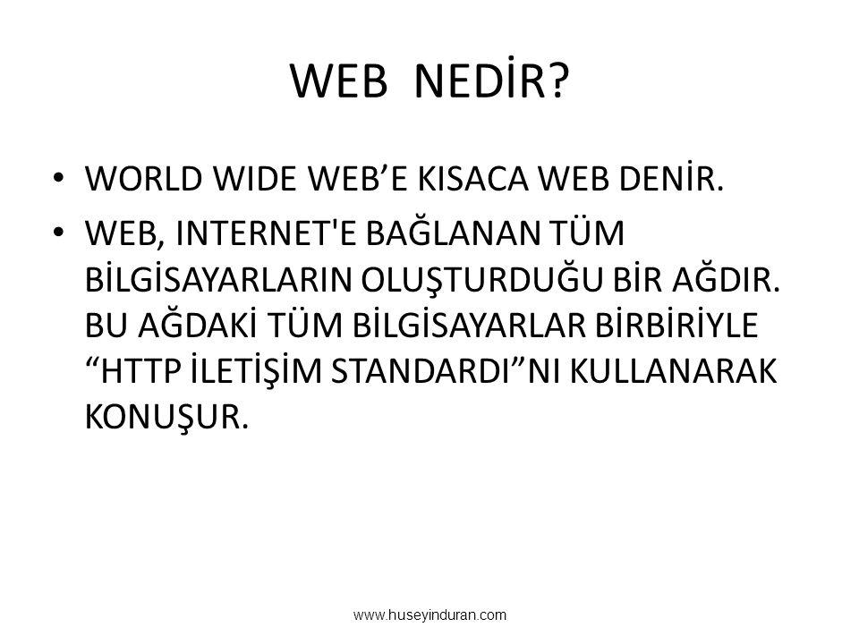 WEB NEDİR WORLD WIDE WEB'E KISACA WEB DENİR.