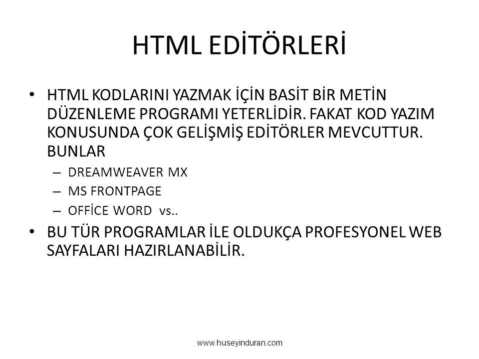 HTML EDİTÖRLERİ