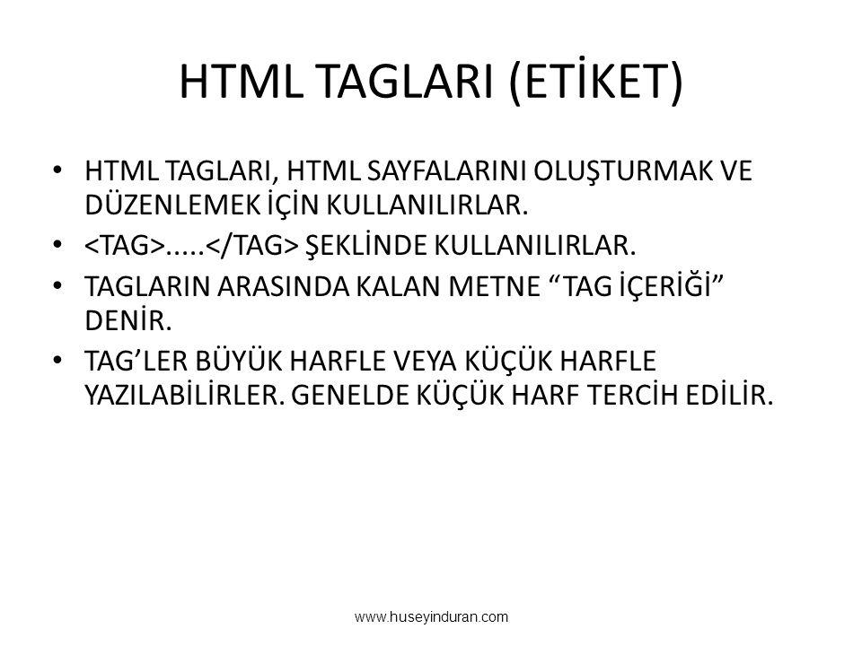 HTML TAGLARI (ETİKET) HTML TAGLARI, HTML SAYFALARINI OLUŞTURMAK VE DÜZENLEMEK İÇİN KULLANILIRLAR. <TAG>.....</TAG> ŞEKLİNDE KULLANILIRLAR.