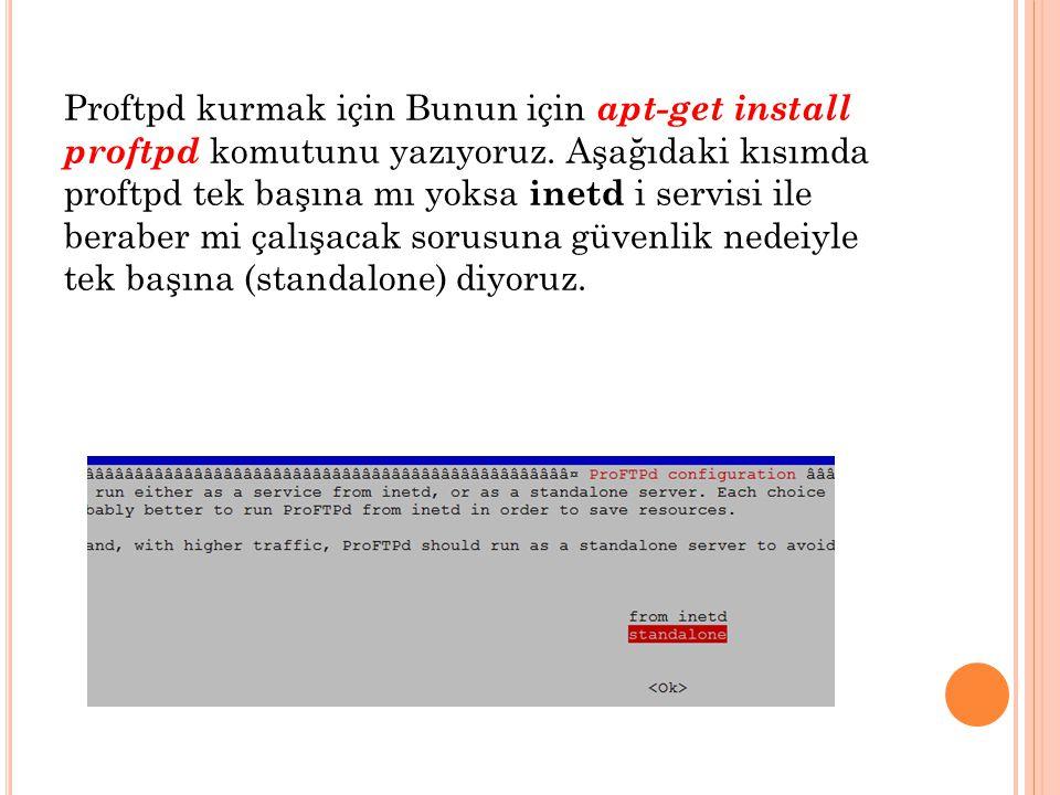 Proftpd kurmak için Bunun için apt-get install proftpd komutunu yazıyoruz.
