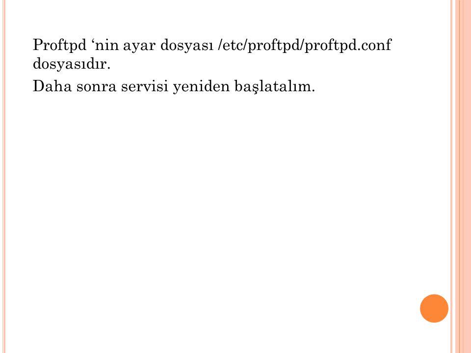 Proftpd 'nin ayar dosyası /etc/proftpd/proftpd. conf dosyasıdır