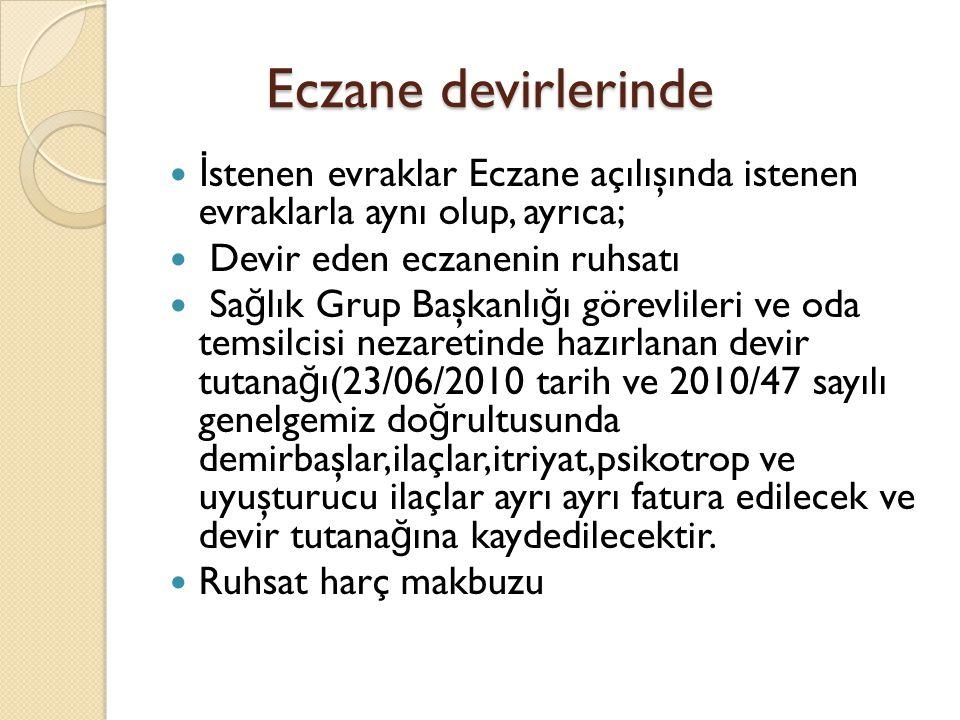 Eczane devirlerinde İstenen evraklar Eczane açılışında istenen evraklarla aynı olup, ayrıca; Devir eden eczanenin ruhsatı.