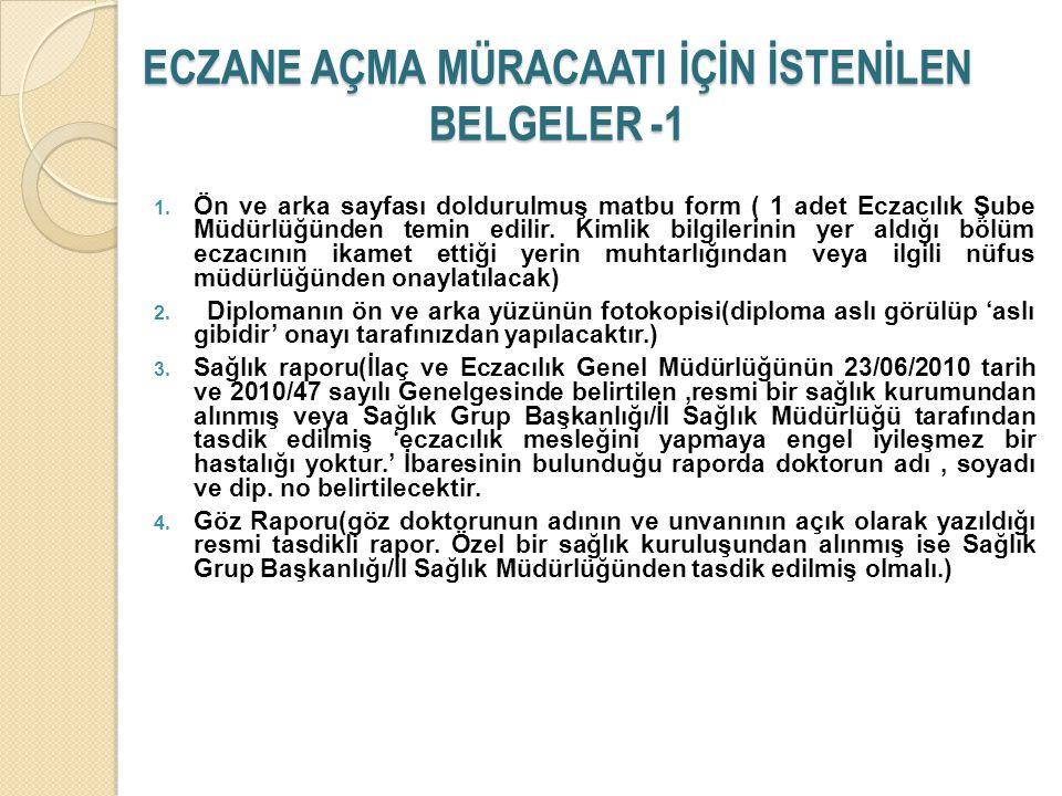 ECZANE AÇMA MÜRACAATI İÇİN İSTENİLEN BELGELER -1