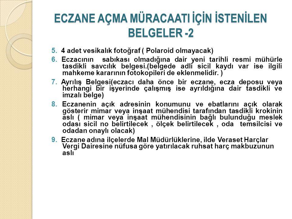 ECZANE AÇMA MÜRACAATI İÇİN İSTENİLEN BELGELER -2