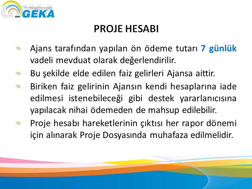 PROJE HESABI Ajans tarafından yapılan ön ödeme tutarı 7 günlük vadeli mevduat olarak değerlendirilir.
