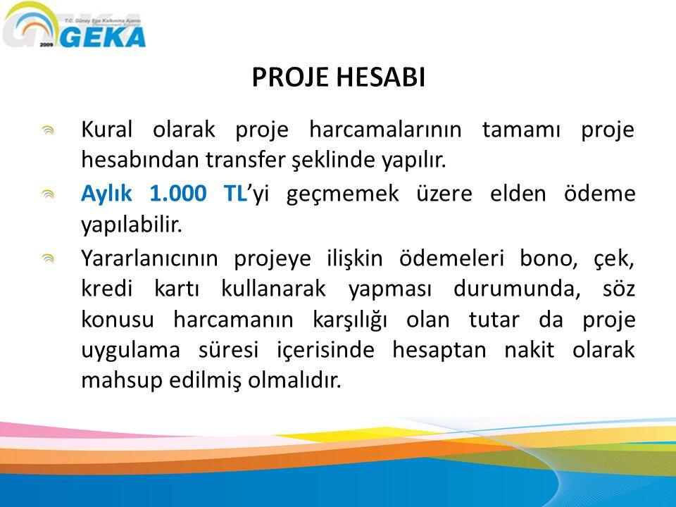 PROJE HESABI Kural olarak proje harcamalarının tamamı proje hesabından transfer şeklinde yapılır.