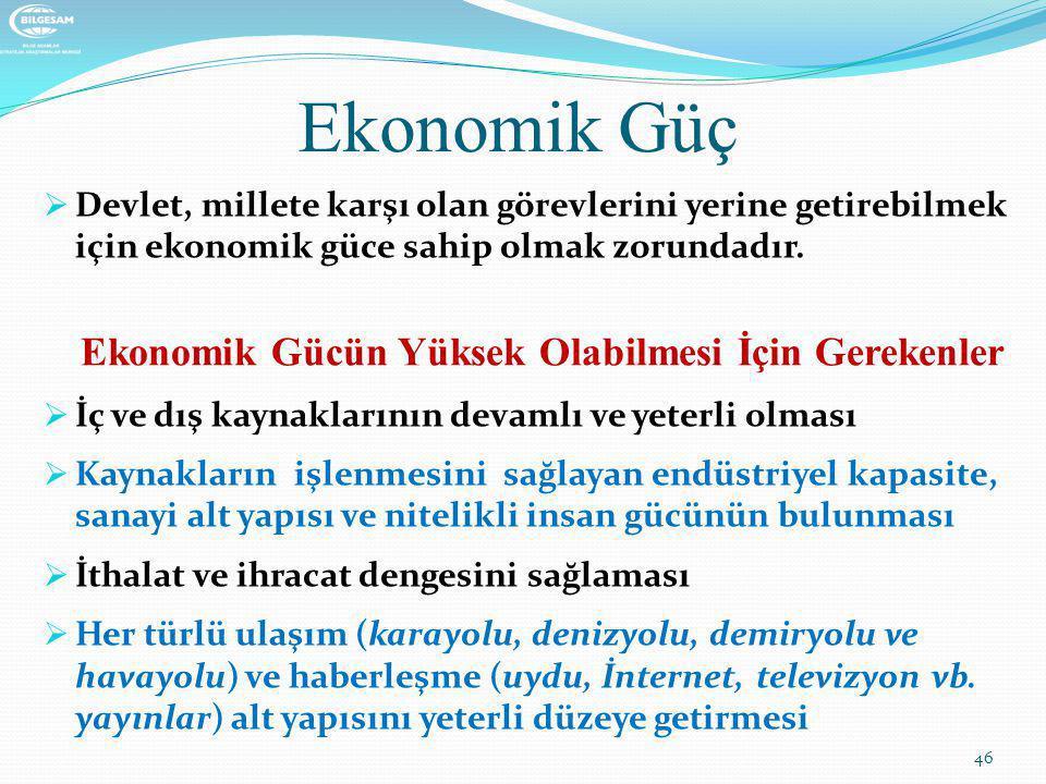 Ekonomik Güç Ekonomik Gücün Yüksek Olabilmesi İçin Gerekenler