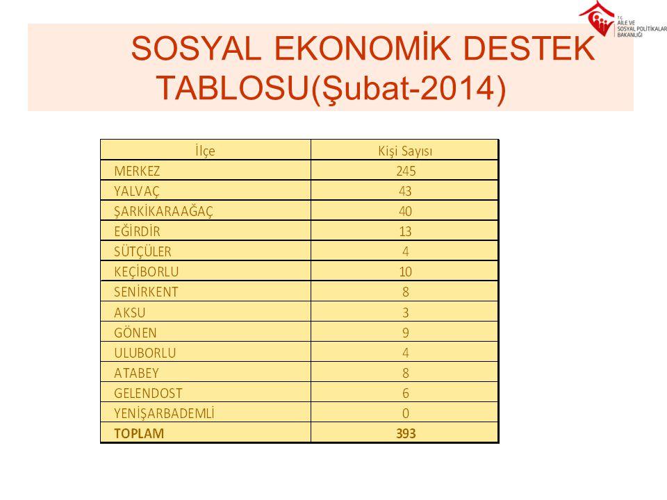 SOSYAL EKONOMİK DESTEK TABLOSU(Şubat-2014)