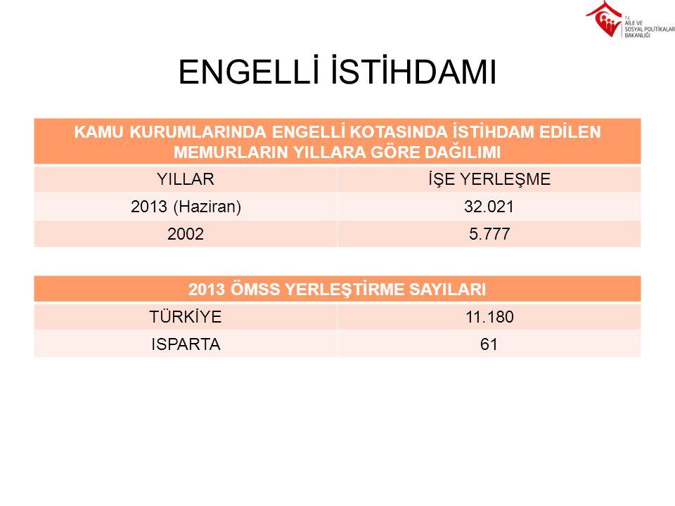 2013 ÖMSS YERLEŞTİRME SAYILARI