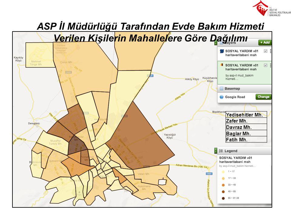 ASP İl Müdürlüğü Tarafından Evde Bakım Hizmeti Verilen Kişilerin Mahallelere Göre Dağılımı