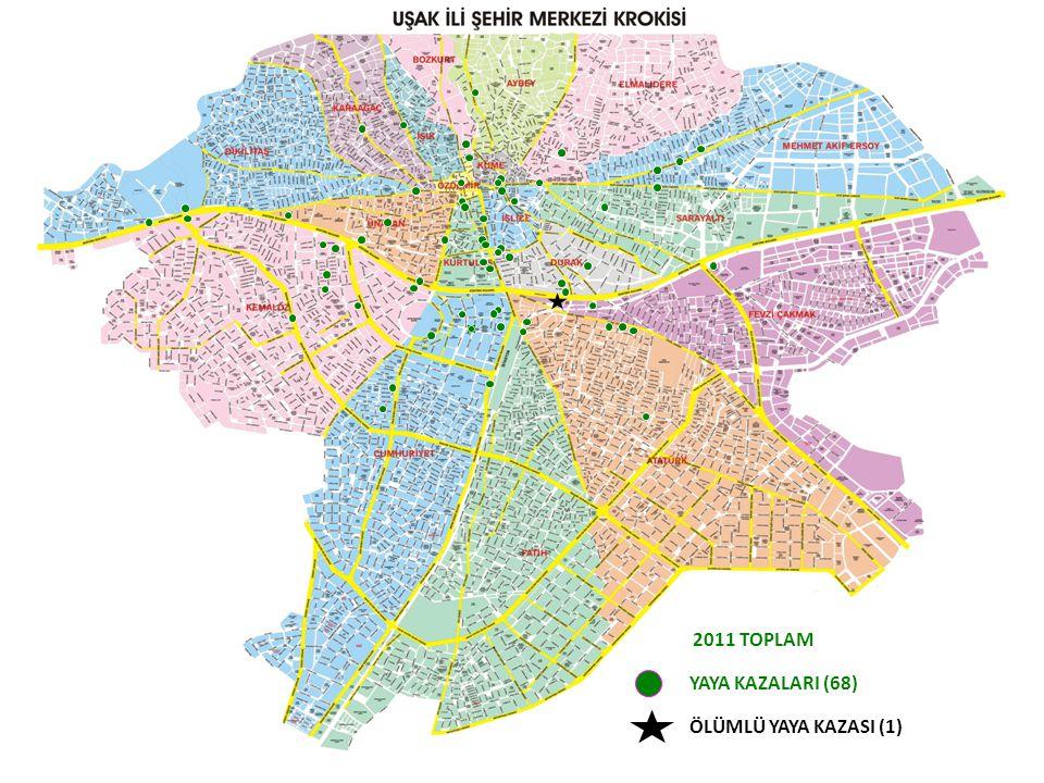 2011 TOPLAM YAYA KAZALARI (68) ÖLÜMLÜ YAYA KAZASI (1)