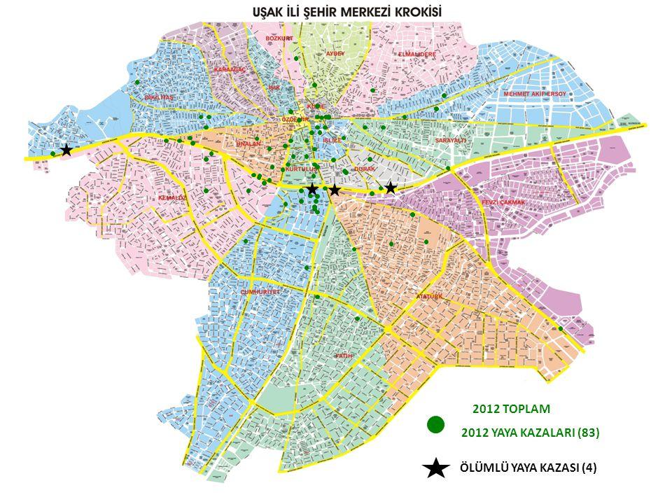 2012 TOPLAM 2012 YAYA KAZALARI (83) ÖLÜMLÜ YAYA KAZASI (4)