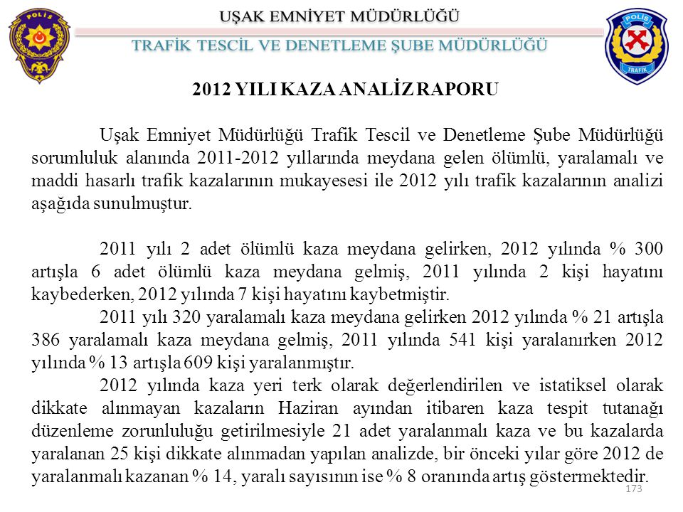 2012 YILI KAZA ANALİZ RAPORU
