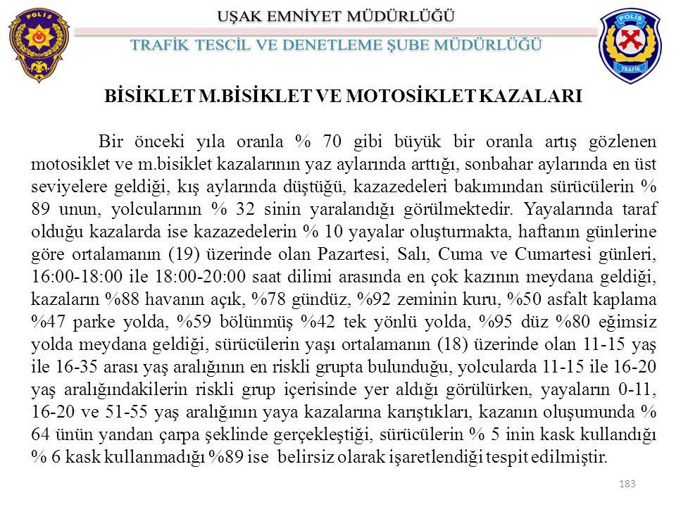 BİSİKLET M.BİSİKLET VE MOTOSİKLET KAZALARI