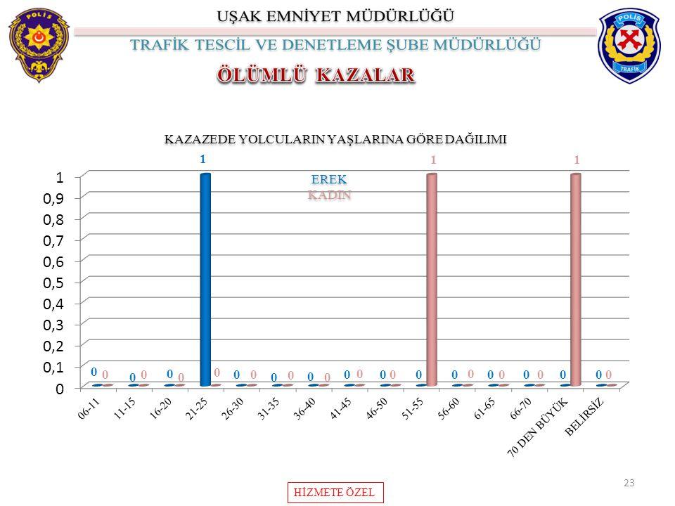 KAZAZEDE YOLCULARIN YAŞLARINA GÖRE DAĞILIMI