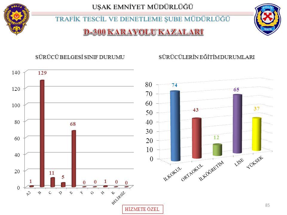 D-300 KARAYOLU KAZALARI SÜRÜCÜ BELGESİ SINIF DURUMU