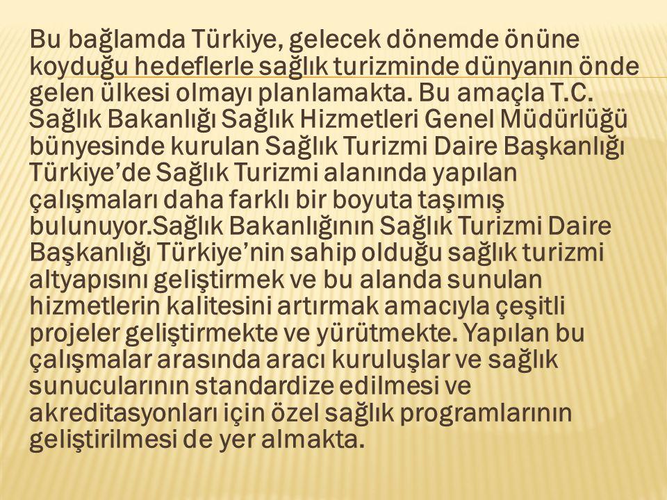 Bu bağlamda Türkiye, gelecek dönemde önüne koyduğu hedeflerle sağlık turizminde dünyanın önde gelen ülkesi olmayı planlamakta.