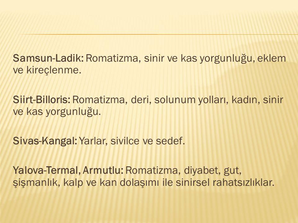 Samsun-Ladik: Romatizma, sinir ve kas yorgunluğu, eklem ve kireçlenme.