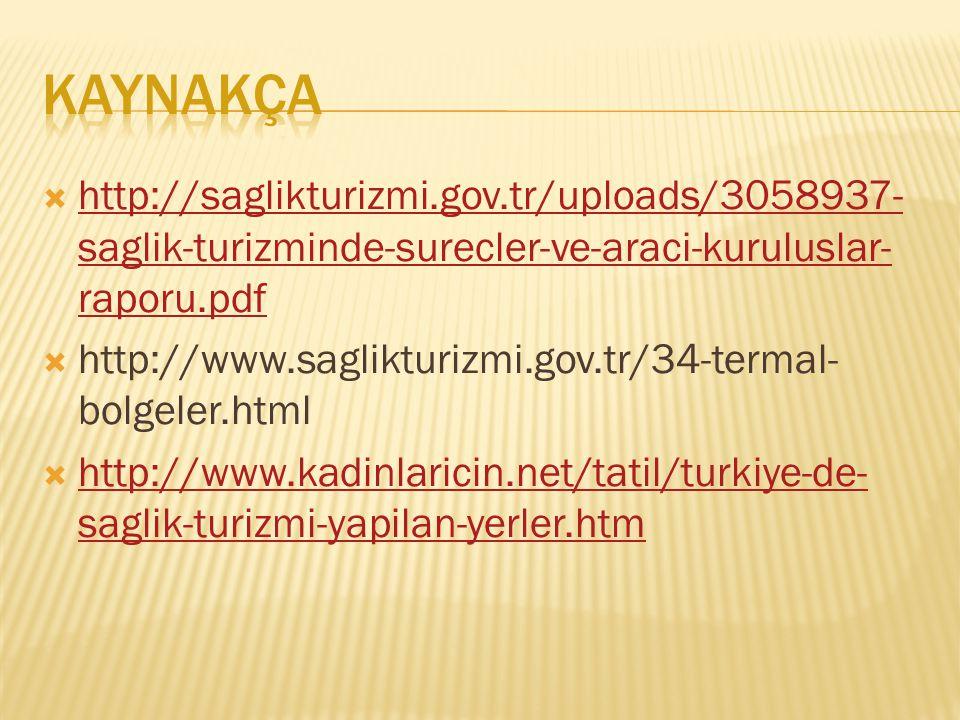 KAYNAKÇA http://saglikturizmi.gov.tr/uploads/3058937-saglik-turizminde-surecler-ve-araci-kuruluslar-raporu.pdf.